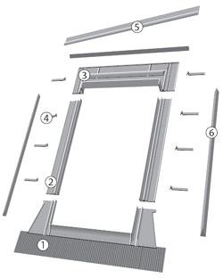 FAKRO tetőtéri ablak burkolókeret felépítése